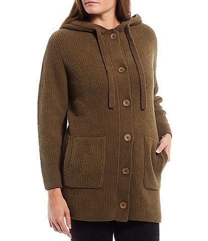 Barefoot Dreams Cozychic Solid Button Front Hooded Lounge Coat