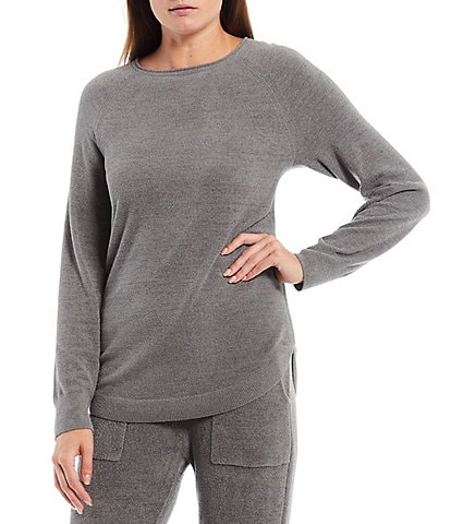 Barefoot Dreams Cozychic Ultra Light Rolled Crew Neck Long Sleeve Shirttail Coordinating Lounge Top