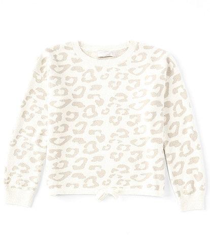 Barefoot Dreams Girls 6-14 Long Sleeve CozyChic Ultra Lite® Leopard Print Pullover Sweater