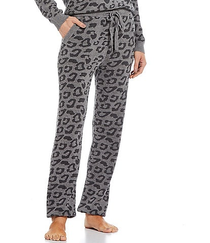 Barefoot Dreams Leopard Jacquard Coordinating Ankle Length Coordinating Track Pants