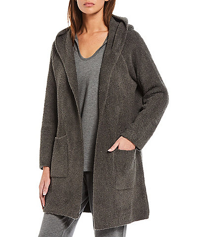 Barefoot Dreams Solid Hooded Soft Plush Long Sleeve Cardigan