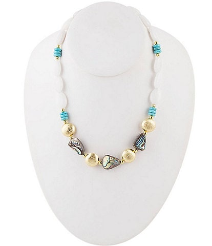Barse Abalone and Multi Stone Necklace
