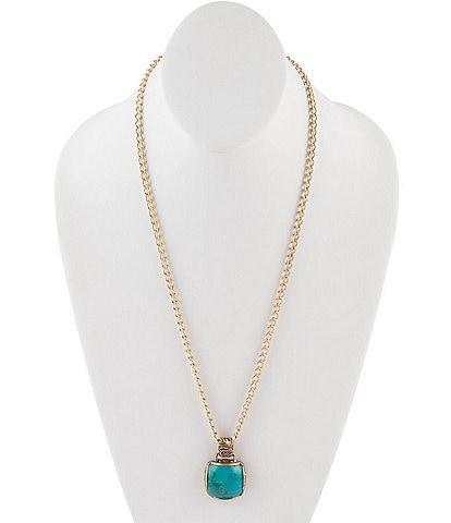 Barse Bronze & Genuine Turquoise Pendant Necklace
