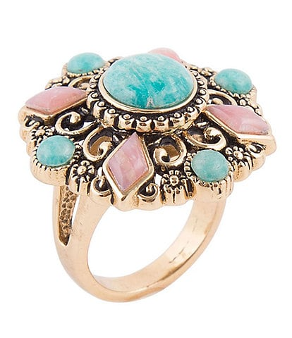 Barse Bronze, Amazonite and Pink Opal Statement Ring