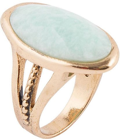 Barse Bronze and Amazonite Oval Ring