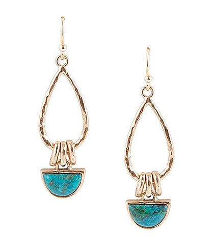 Barse Bronze and Chrysocoalla Drop Earrings
