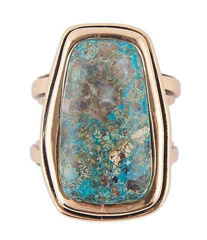 Barse Bronze and Chrysocolla Statement Ring