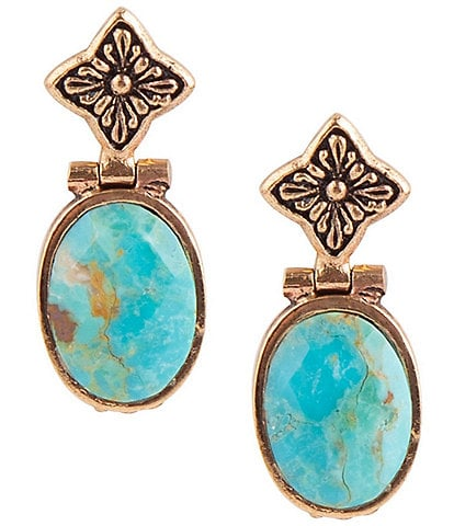 Barse Bronze and Faceted Genuine Turquoise Drop Earrings