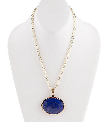 Barse Bronze and Faceted Lapis Pendant Necklace