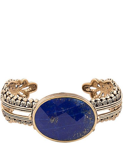 Barse Bronze and Faceted Lapis Statement Cuff Bracelet