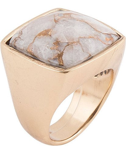Barse Bronze and Faceted White Calcite Matrix Ring