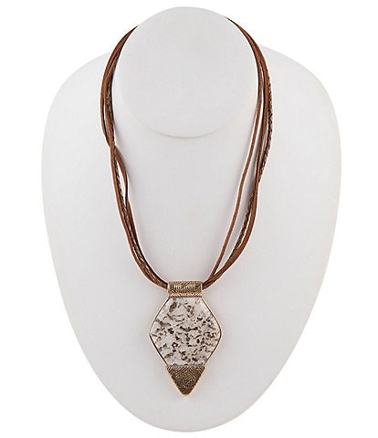 Barse Bronze and Feldspar Jasper Pendant Necklace
