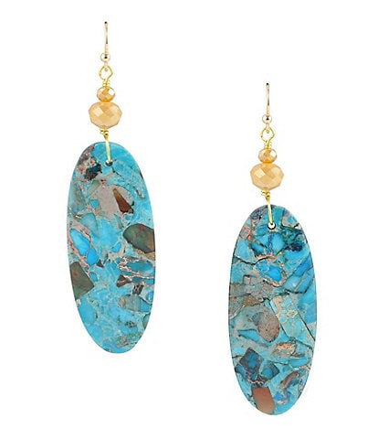 Barse Bronze and Genuine Stone Statement Earrings