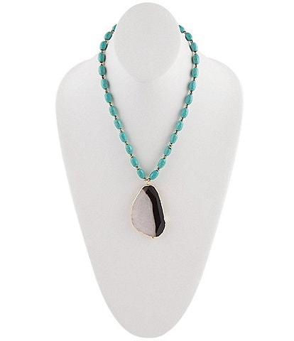 Barse Bronze and Genuine Stone Turquoise Pendant Necklace