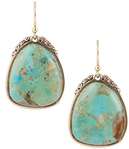 Barse Bronze and Genuine Turquoise Drop Earrings