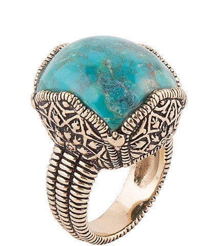 Barse Bronze and Genuine Turquoise Cocktail Ring