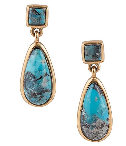 Barse Bronze and Genuine Turquoise Teardrop Earrings