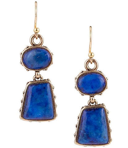 Barse Bronze and Lapis Drop Earrings