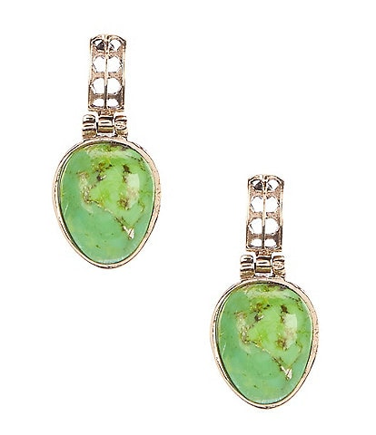 Barse Bronze and Lime Turquoise Teardrop Earrings