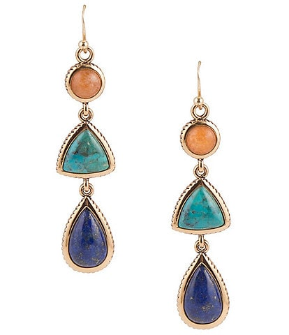 Barse Bronze and Multi Stone Linear Earrings