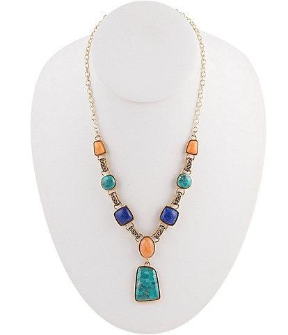 Barse Bronze and Multi Stone Necklace
