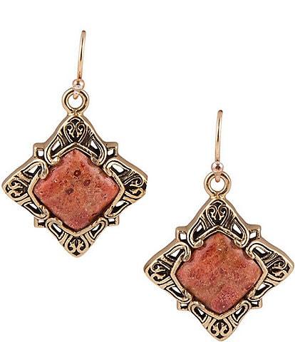 Barse Bronze and Orange Sponge Coral Earrings