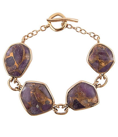Barse Bronze and Purple Amethyst Matrix Toggle Bracelet