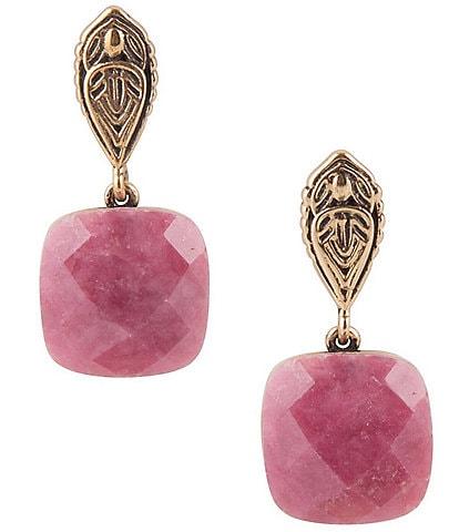 Barse Bronze and Rhodonite Drop Earrings