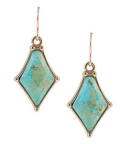 Barse Bronze and Turquoise Drop Earrings