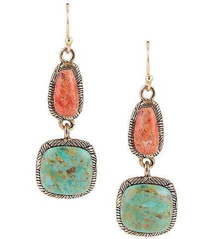 Barse Bronze Genuine Turquoise and Orange Sponge Coral Drop Earrings