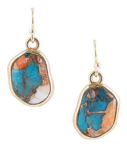 Barse Bronze Spiny Oyster and Turquoise Matrix Stone Earrings