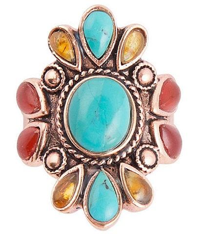 Barse Copper and Genuine Stone Statement Ring