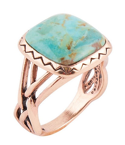 Barse Copper and Genuine Turquoise Square Ring