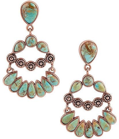 Barse Copper and Genuine Turquoise Stone Statement Drop Earrings