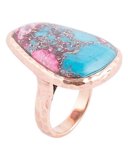 Barse Copper, Turquoise and Pink Matrix Statement Ring