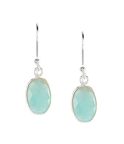 Barse Sterling Silver and Amazonite Round Drop Earrings