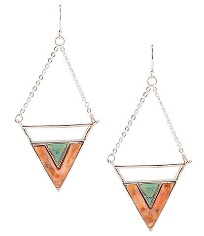 Barse Sterling Silver and Genuine Stone Drop Earrings