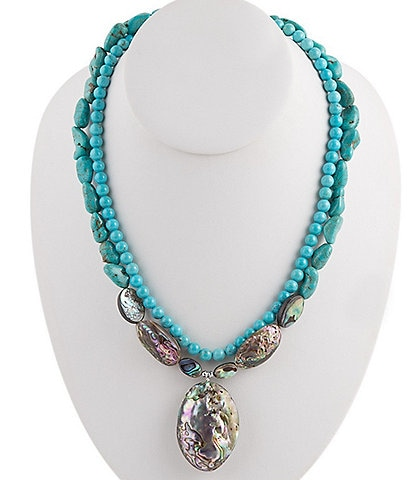 Barse Sterling Silver and Genuine Stone Statement Necklace