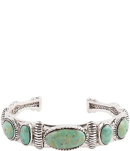 Barse Sterling Silver and Genuine Turquoise Multi Stone Cuff Bracelet