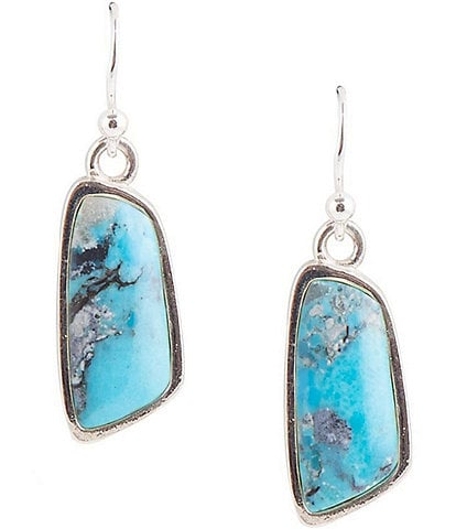 Barse Sterling Silver and Genuine Turquoise Drop Earrings