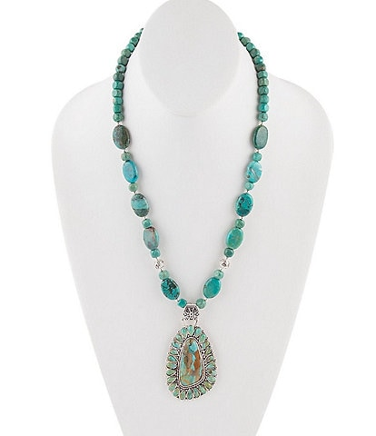 Barse Sterling Silver and Genuine Turquoise Pendant Necklace