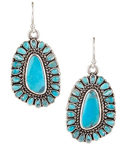 Barse Sterling Silver and Genuine Turquoise Statement Rope Detail Earrings