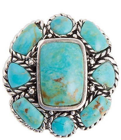 Barse Sterling Silver and Genuine Turquoise Round Cluster Statement Ring