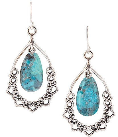 Barse Sterling Silver and Genuine Turquoise Teardrop Earrings