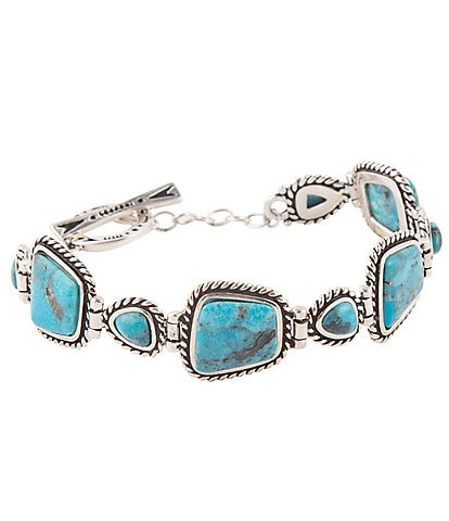 Barse Sterling Silver and Genuine Turquoise Multi Stone Toggle Bracelet
