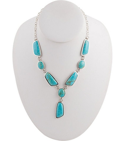 Barse Sterling Silver and Genuine Turquoise Y Necklace
