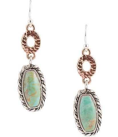 Barse Sterling Silver, Copper and Genuine Turquoise Drop Earrings