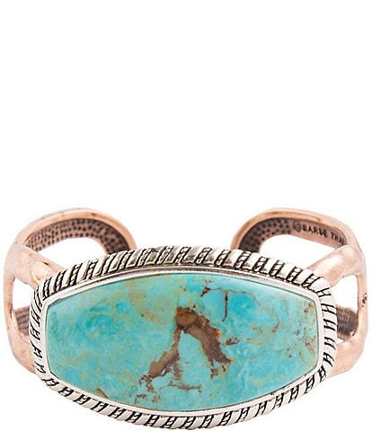 Barse Sterling Silver, Copper and Genuine Turquoise Large Cuff Bracelet