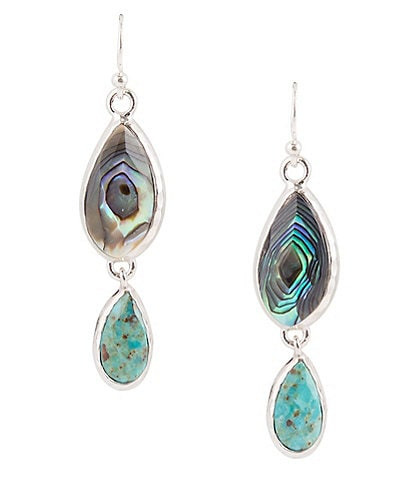 Barse Sterling Silver, Genuine Turquoise and Abalone Linear Earrings