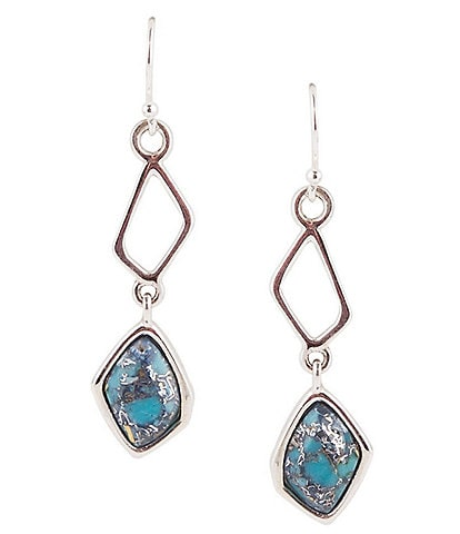 Barse Sterling Silver, Lapis and Turquoise Matrix Drop Earrings
